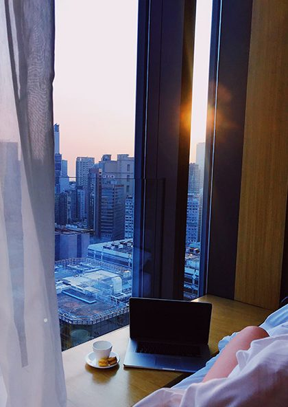 A hotel room with a view