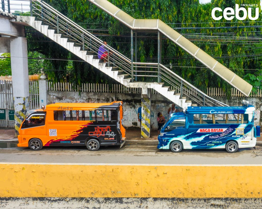 Jeepneys lining up under a skywalk in Barangay Bulacao, Talisay City