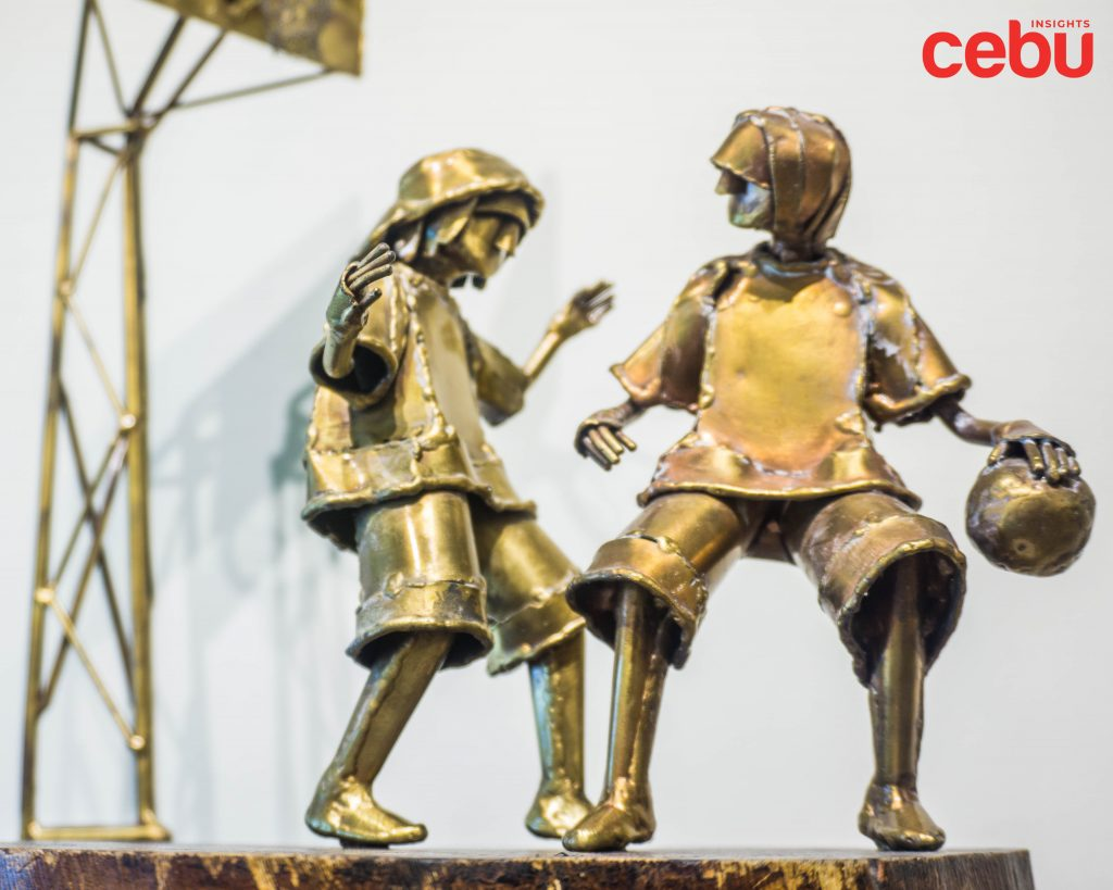 Brass sculpture at the Qube Gallery